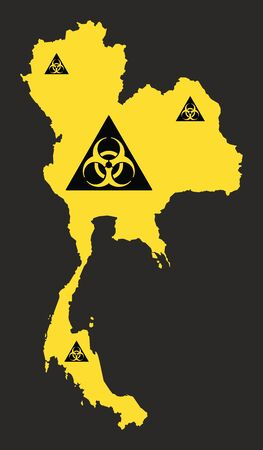 Thailand map with biohazard virus sign illustration in black and yellow