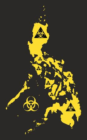 Philippines map with biohazard virus sign illustration in black and yellow Ilustrace