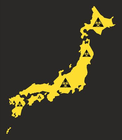 Japan map with biohazard virus sign illustration in black and yellow