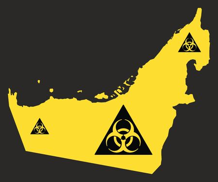 United Arab Emirates map with biohazard virus sign illustration in black and yellow Ilustrace