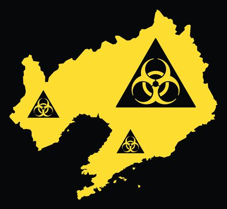 Liaoning province map of China with biohazard virus sign