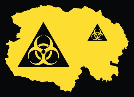 Qinghai province map of China with biohazard virus sign