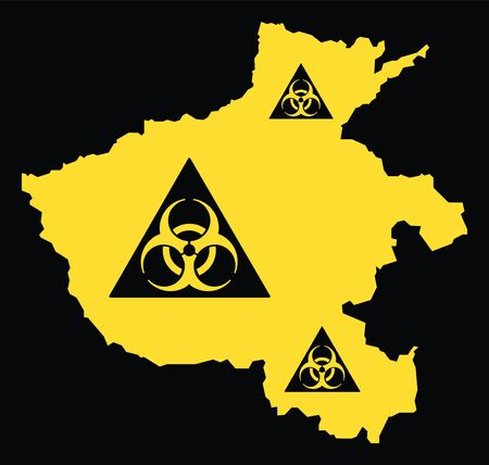 Henan province map of China with biohazard virus sign