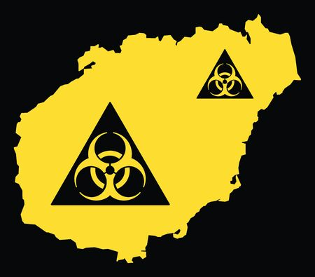 Hainan province map of China with biohazard virus sign