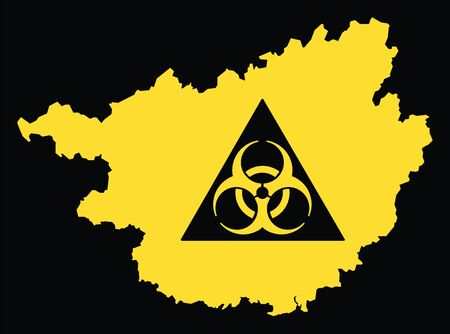 Guangxi province map of China with biohazard virus sign