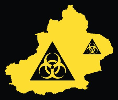 Xinjiang province map of China with biohazard virus sign