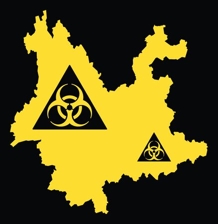 Yunnan province map of China with biohazard virus sign
