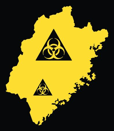 Fujian province map of China with biohazard virus sign Ilustrace