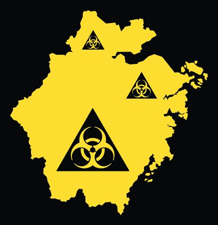 Zhejiang province map of China with biohazard virus sign