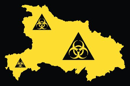 Hubei province map of China with biohazard virus sign Ilustrace