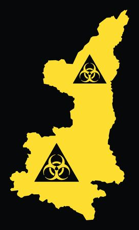 Shaanxi province map of China with biohazard virus sign