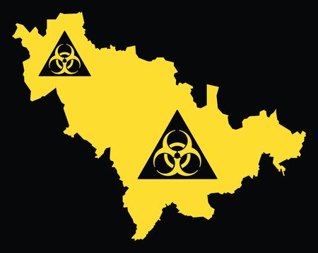Jilin province map of China with biohazard virus sign