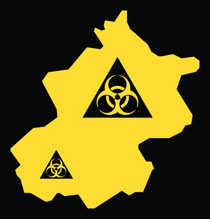 Beijing province map of China with biohazard virus sign