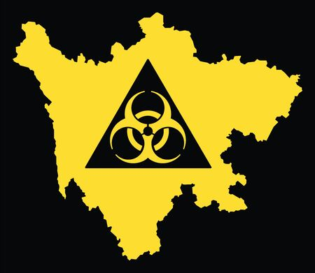 Sichuan province map of China with biohazard virus sign Ilustrace