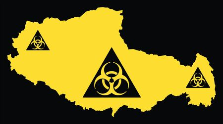 Xizang province map of China with biohazard virus sign Ilustrace