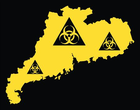 Guangdong province map of China with biohazard virus sign Ilustrace