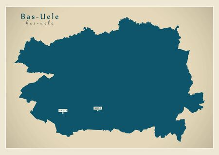 Modern Map - Bas-Uele province map of DR Congo