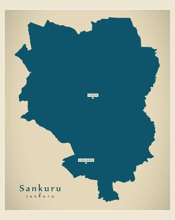 Modern Map - Sankuru province map of DR Congo