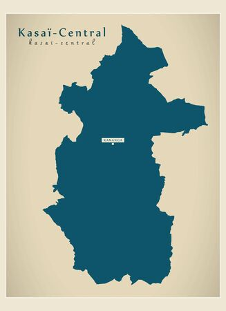 Modern Map - Kasai-Central province map of DR Congo Illustration