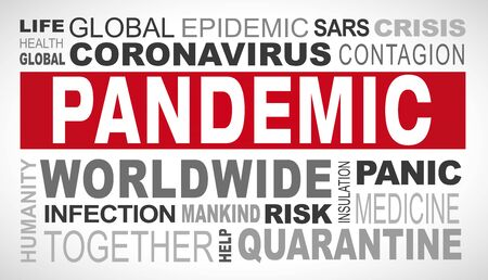 Pandemic related tags word cloud illustration
