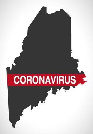 Maine USA federal state map with Coronavirus warning illustration  イラスト・ベクター素材