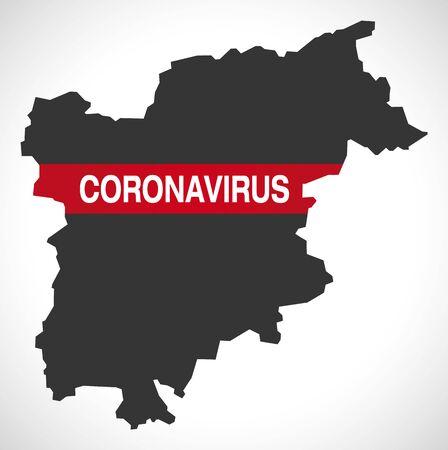 Trentino-South Tyrol ITALY region map with Coronavirus warning illustration Stock Illustratie
