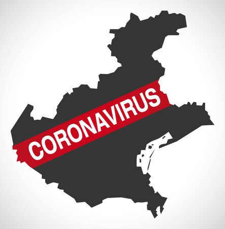 Veneto ITALY region map with Coronavirus warning illustration