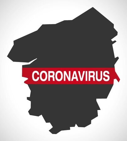 Upper Normandy FRANCE region map with Coronavirus warning illustration Vettoriali
