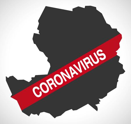 Bridgend WALES UK principal area map with Coronavirus warning illustration