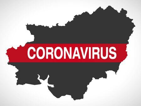 Carmarthenshire WALES UK principal area map with Coronavirus warning illustration Иллюстрация