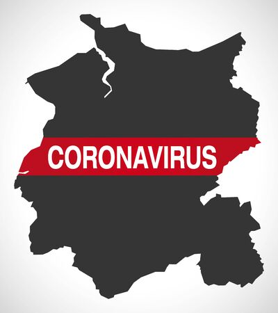 Conwy WALES UK principal area map with Coronavirus warning illustration Illustration