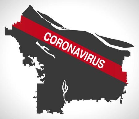 Portland Oregon city map with Coronavirus warning