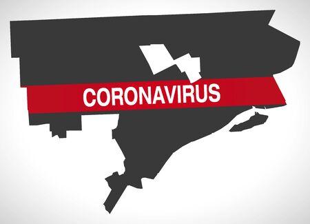Detroit Michigan city map with Coronavirus warning
