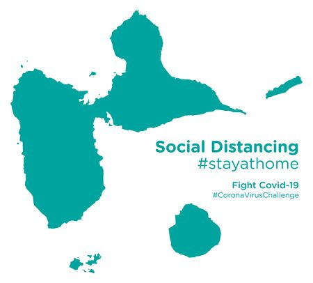 Guadeloupe map with Social Distancing #stayathome tag