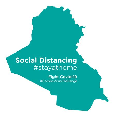Iraq map with Social Distancing #stayathome tag