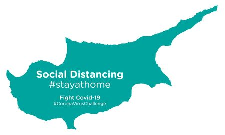 Cyprus map with Social Distancing #stayathome tag
