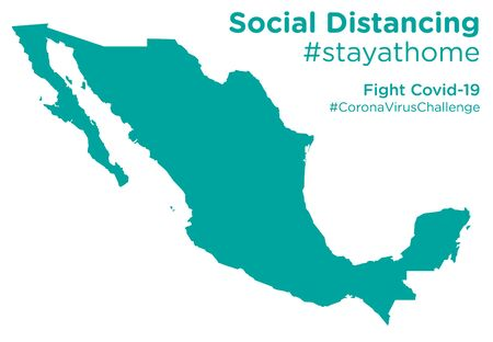 Mexico map with Social Distancing stayathome tag