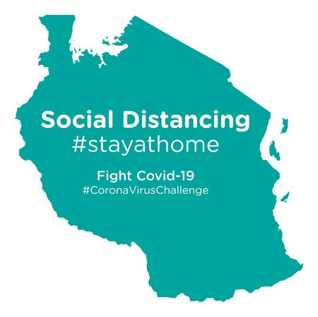 Tanzania map with Social Distancing stayathome tag