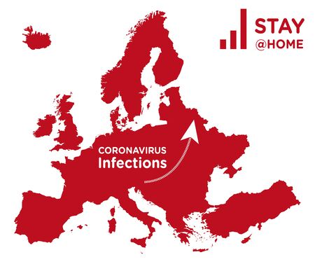 Europe map with increasing coronavirus infection curve