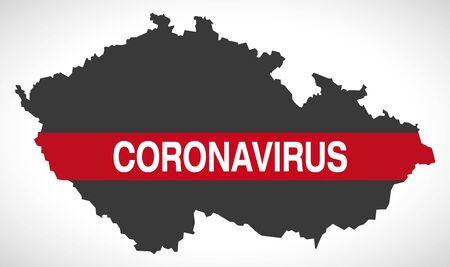 Czech Republic map with Coronavirus warning illustration