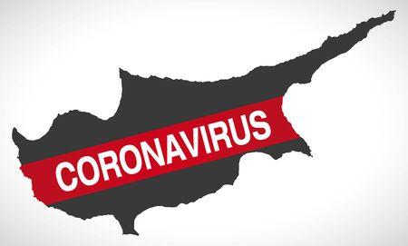 Cyprus map with Coronavirus warning illustration 向量圖像