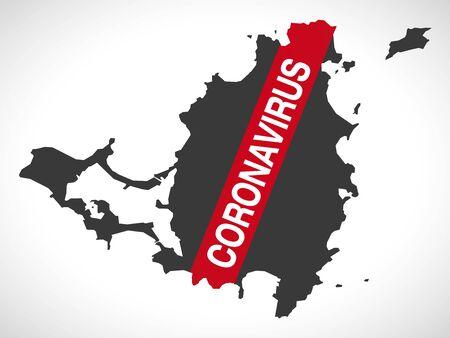 Saint Martin map with Coronavirus warning illustration Illustration