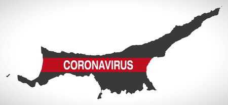 Northern Cyprus map with Coronavirus warning illustration