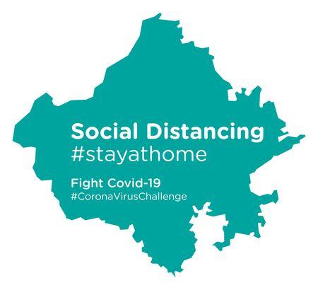 Rajasthan map with Social Distancing stayathome tag Illusztráció