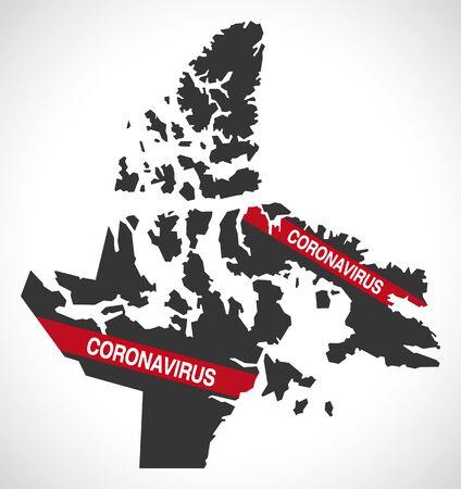 Nunavut CANADA map with Coronavirus warning illustration