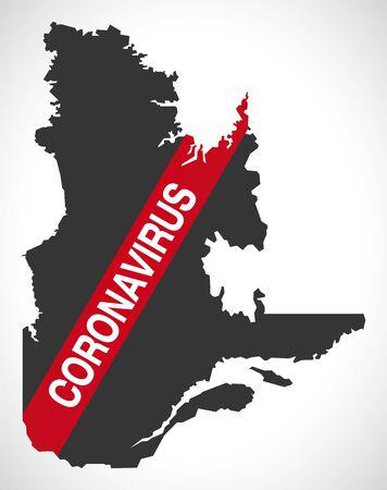 Quebec CANADA map with Coronavirus warning illustration