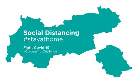 Tyrol map with Social Distancing stayathome tag