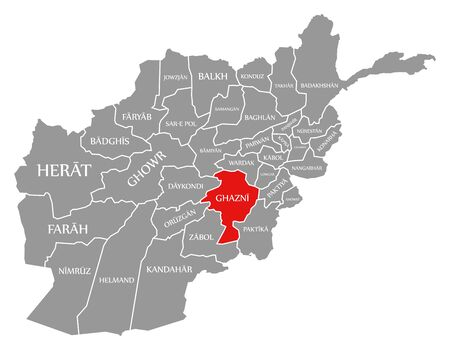 Ghazni red highlighted in map of Afghanistan