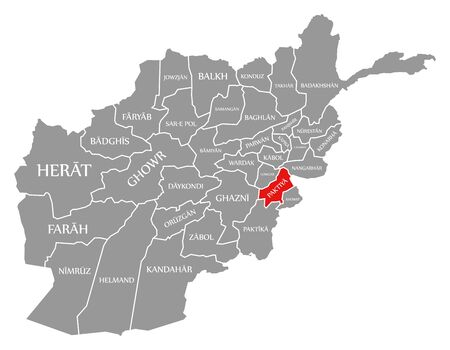 Paktiya red highlighted in map of Afghanistan