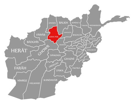 Sar-e Pol red highlighted in map of Afghanistan